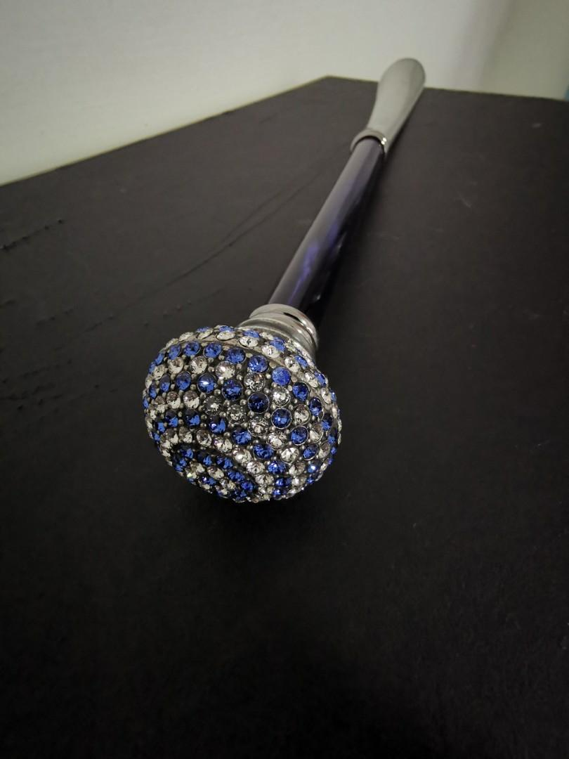 Pasotti Ombrelli - Royal blue and clear Swarovski Crystal crown Shoehorn with ocean blue wooden handle