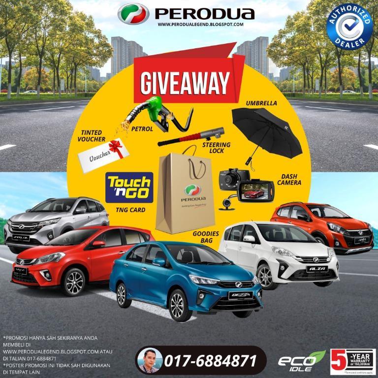 Perodua Promotion AXIA ALZA ARUZ BEZZA MYVI Mac 2020 Giveaway