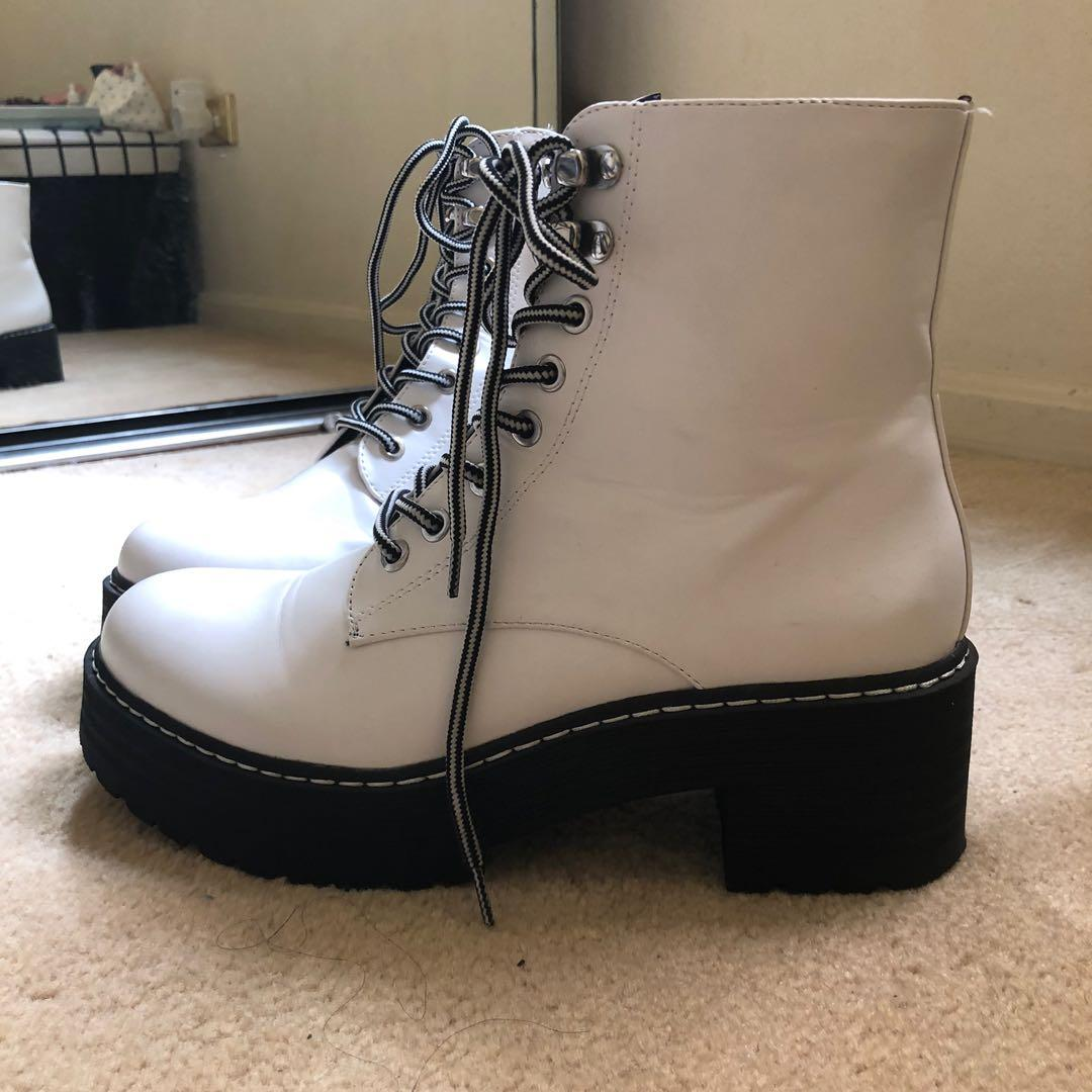 Platform White Combat boots, Women's