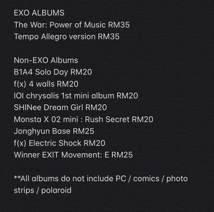 Preloved albums (exo, shinee, fx, jonghyun, winner, monstax, b1a4, ioi)