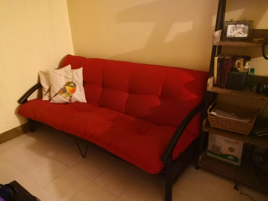 Red Sofa Bed W Grey Fit Cover Pillows Home Furniture Furniture Fixtures Sofas On Carousell