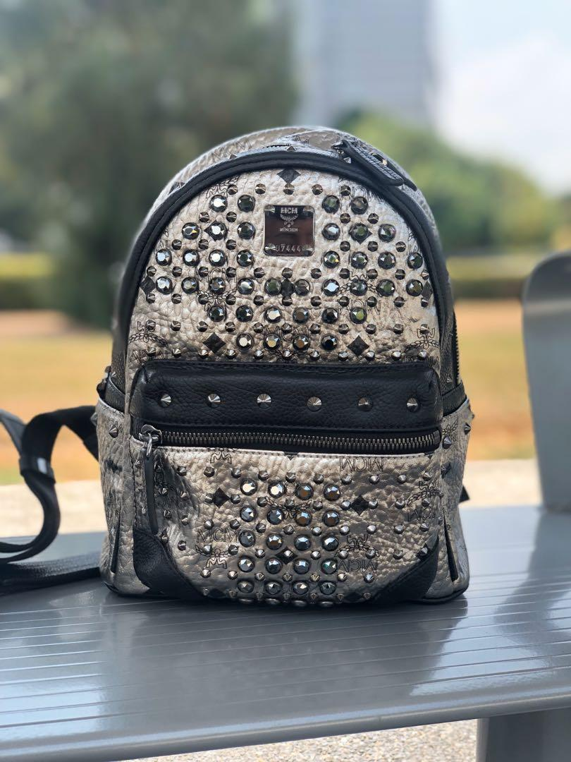 100% Authentic MCM Limited Edition Swarovski Crystal with Gunmetal Hardware in Black & Silver color