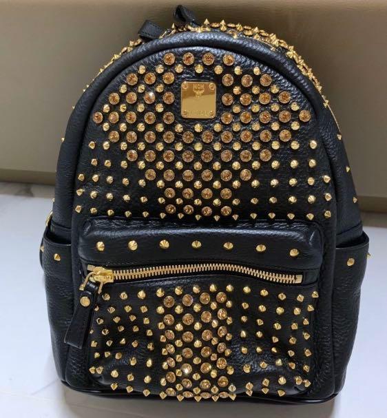 100% Authentic MCM Limited Edition Swarovski Stark Bag - Full Black Leather with Swarovski crystal in golden studs