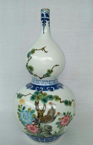 Wucai Porcelain Bird Flower Bottle Vase