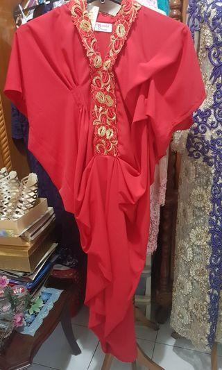 Red dress drapery
