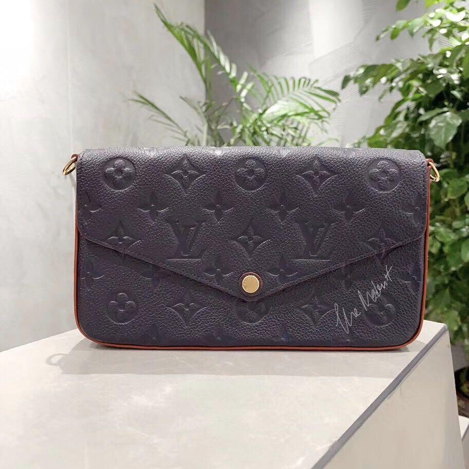 Authentic Louis Vuitton Félicie Pochette Marine Rouge Monogram Empreinte Leather