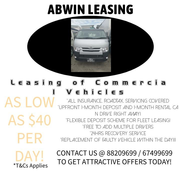 BEST RATES AS LOW AS $40 PER DAY * LEASING OF COMMERIAL VEHICLES~