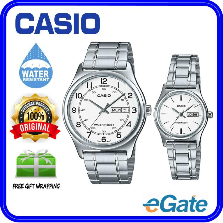 Casio MTP-V006D-7B2 & LTP-V006D-7B2 Couple Analog Date Day Functioning White Dial Stainless Steel Strap Original Watch