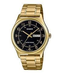 Casio MTP-V006G-1B Men Analog Date Day Functioning Black Dial Gold Stainless Steel Strap Original Casual Watch MTP-V006G