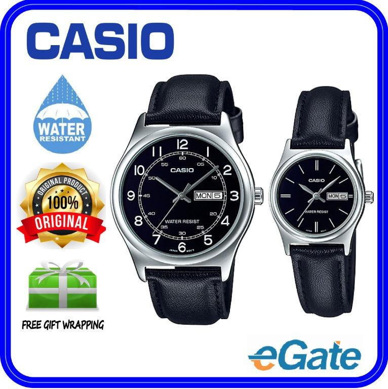 Casio MTP-V006L-1B2 & LTP-V006L-1B2 Couple Analog Date Day Functioning Black Dial Black Leather Original CasualWatch
