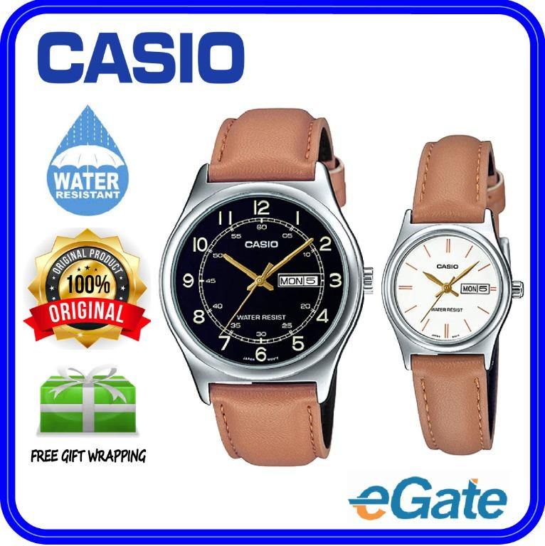 Casio MTP-V006L-1B3 & LTP-V006L-7B2 Couple Analog Date Day Functioning Brown Leather Band Original Casual Watch