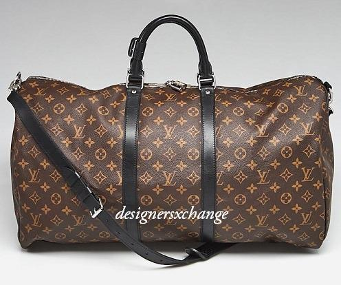 Louis Vuitton Macassar Monogram Canvas Keepall 55 Carry-on Soft Luggage Bag with Detachable long Strap