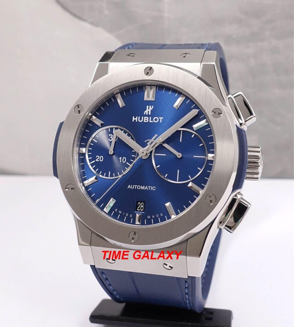 Preowned 2 months only HUBLOT Classic Fusion Blue Dial Automatic Chronograph 45mm Titanium Men's Watch. Model: 521.NX.7170.LR. Swiss made