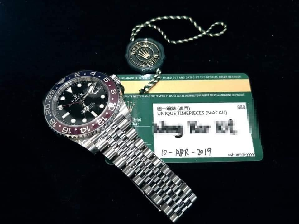 PREOWNED ROLEXGMTMASTER 2,  126710 BLRO, Oystersteel, 40mm, Alphanumeric Series @ Dated 2019, Apr. Mens Watch