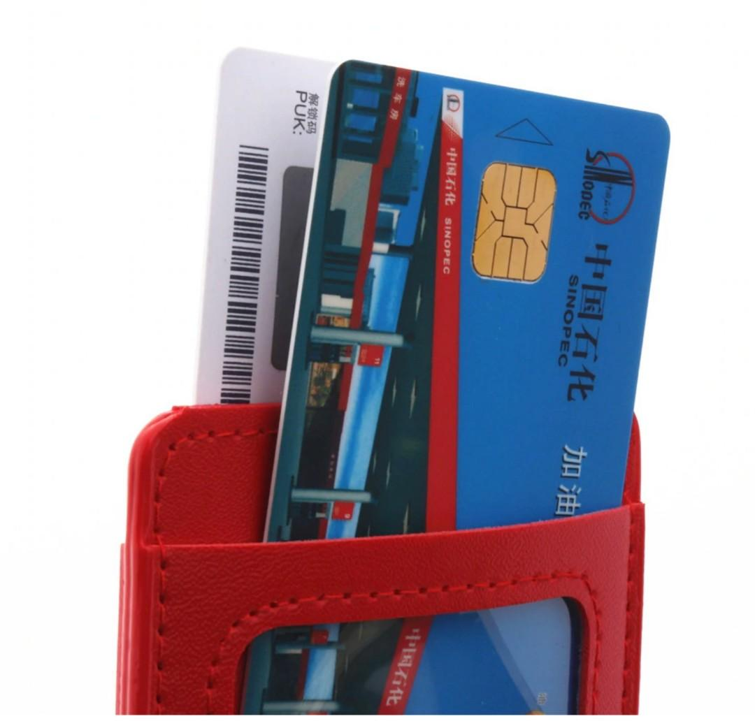 PU Leather material double card sleeve ID Badge Case Clear Bank Credit Card Badge Holder Accessories