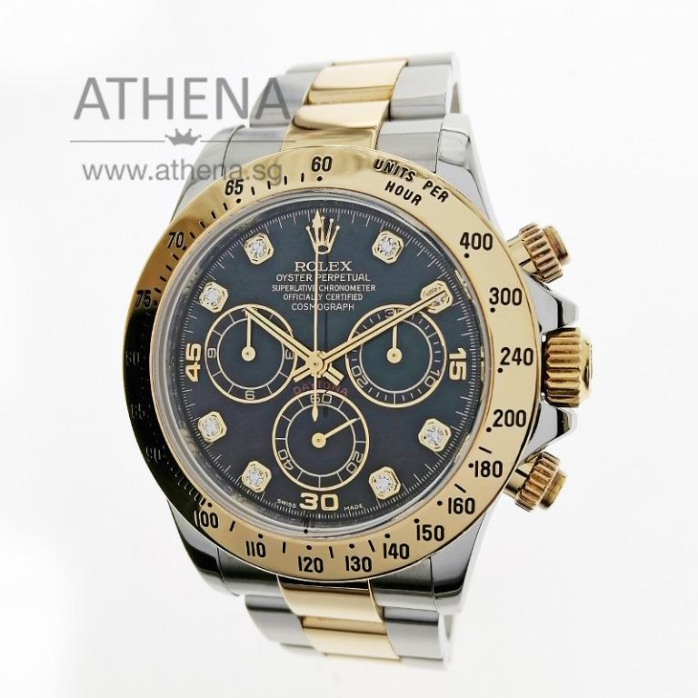 "ROLEX HALF GOLD OYSTER PERPETUAL COSMOGRAPH DAYTONA ""AN"" SERIES ""BLACK DIAMOND DIAL"" WITH BOX & CERT 116523 JGWRL_1234"