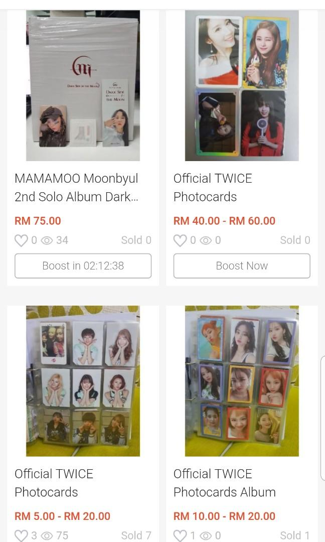 TWICE Photocards MAMAMOO Moonbyul Albums RED VELVET Merchandise and albums