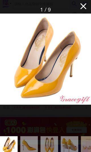 美少女戰士 變身器 漆皮黃色高跟鞋 24號