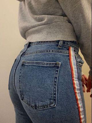 High-Waisted Blue Denim Rainbow Jeans