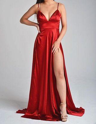 Abyss by Abby Red Satin Prom Dress