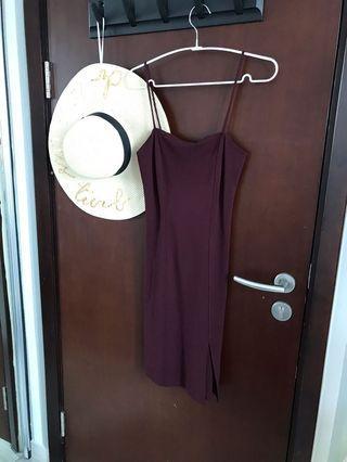 f21 maroon dress