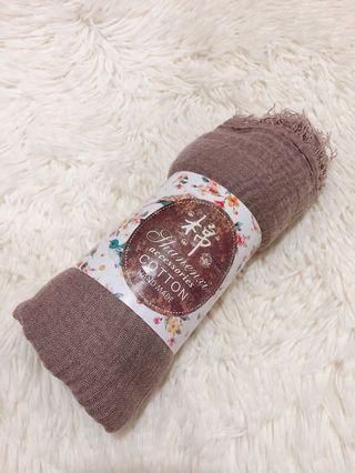 大地色手工製作棉圍巾#大地色