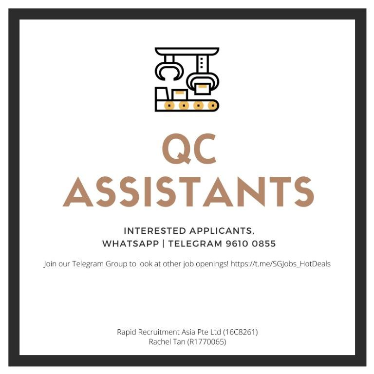 ⚡ Temporary QC Assistant - (URGENT | 2-3 MONTHS | Immediate)