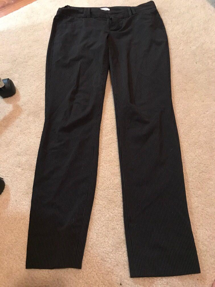 Calvin Klein black dress pants with white pinstripes