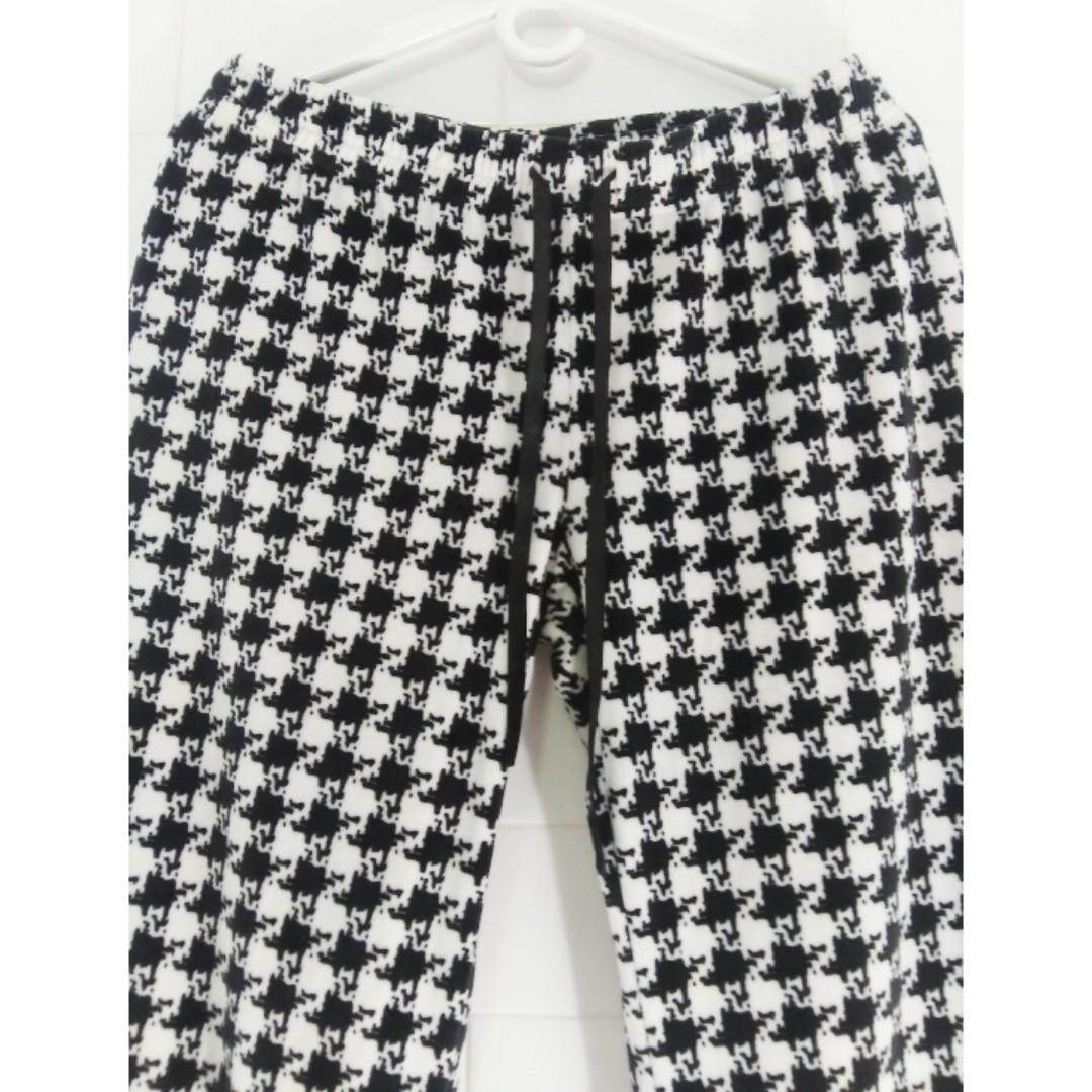 Daniel Buchier Houndstooth Velour Lounge Pyjama Pants | Size L