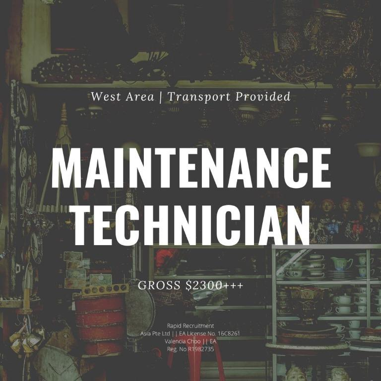 Maintenance Technician (West | Transport Provided)