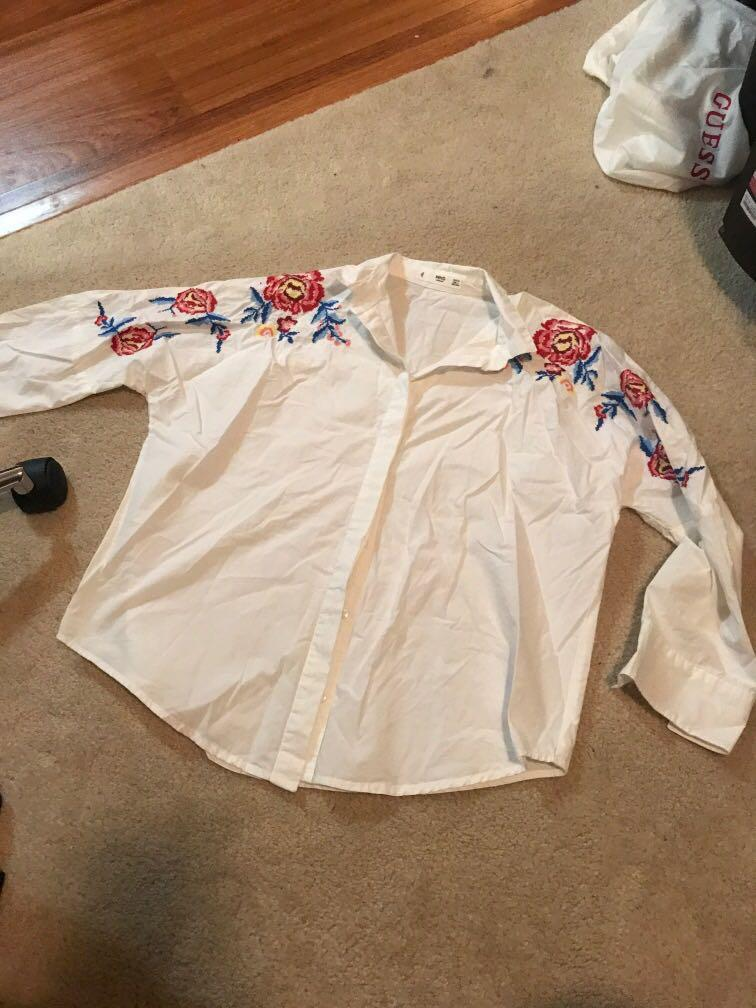 Mango white dress shirt with floral detail on shoulders