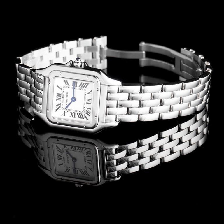 [NEW] Cartier Panthère de Cartier 27 mm Quartz Silver Dial Stainless Steel Ladies Watch WSPN0007