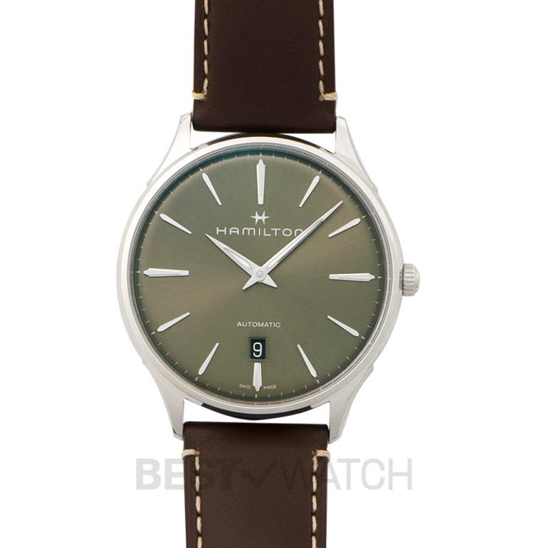 [NEW] Hamilton Jazzmaster Thinline Auto Green Dial Brown Leather Strap Men's Watch H38525561