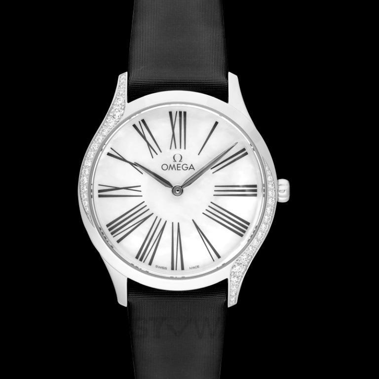 [NEW] Omega De Ville Tresor Quartz 36mm Quartz White Mother Of Pearl Dial Diamonds Ladies Watch 428.17.36.60.05.001