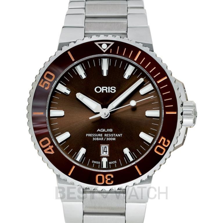 [NEW] Oris Aquis Date Automatic Brown Dial Bracelet Men's Watch 01 733 7730 4152-07 8 24 05PEB