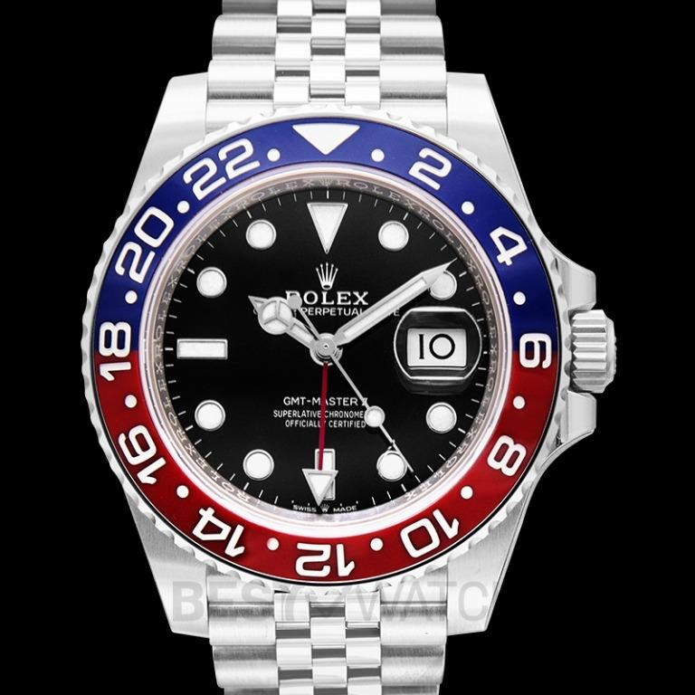 [NEW] Rolex GMT Master II Pepsi Blue and Red Bezel Stainless Steel Automatic Black Dial Men's Watch 126710blro-0001