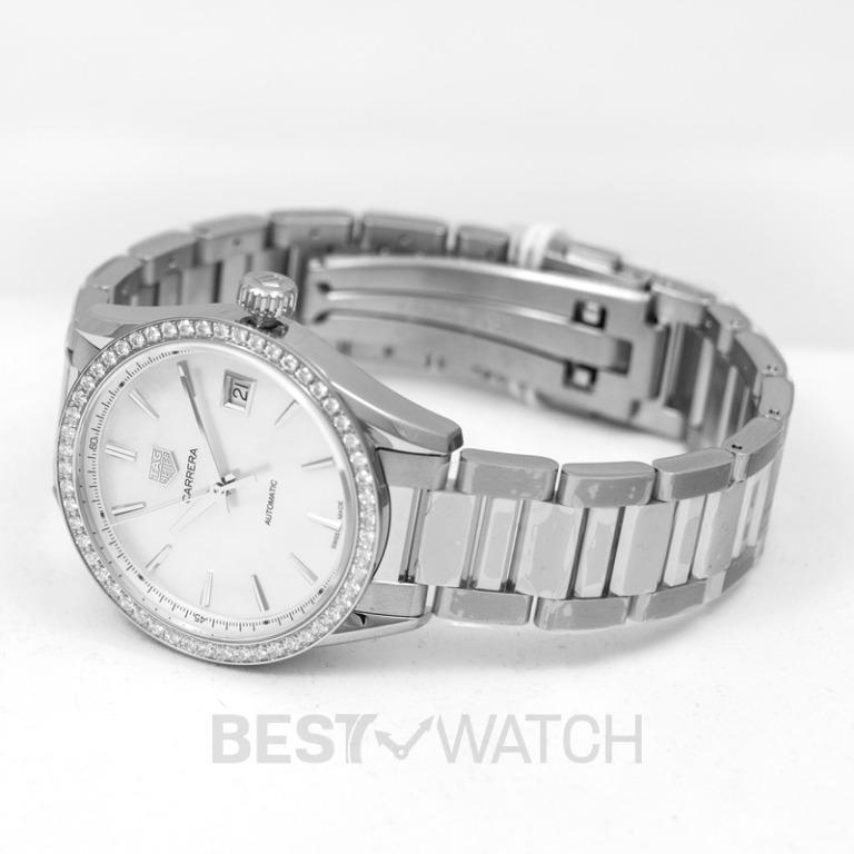 [NEW] TAG Heuer Carrera Calibre 5 Ladies Automatic White Dial with Diamonds Bezel Ladies Watch WBK2316.BA0652