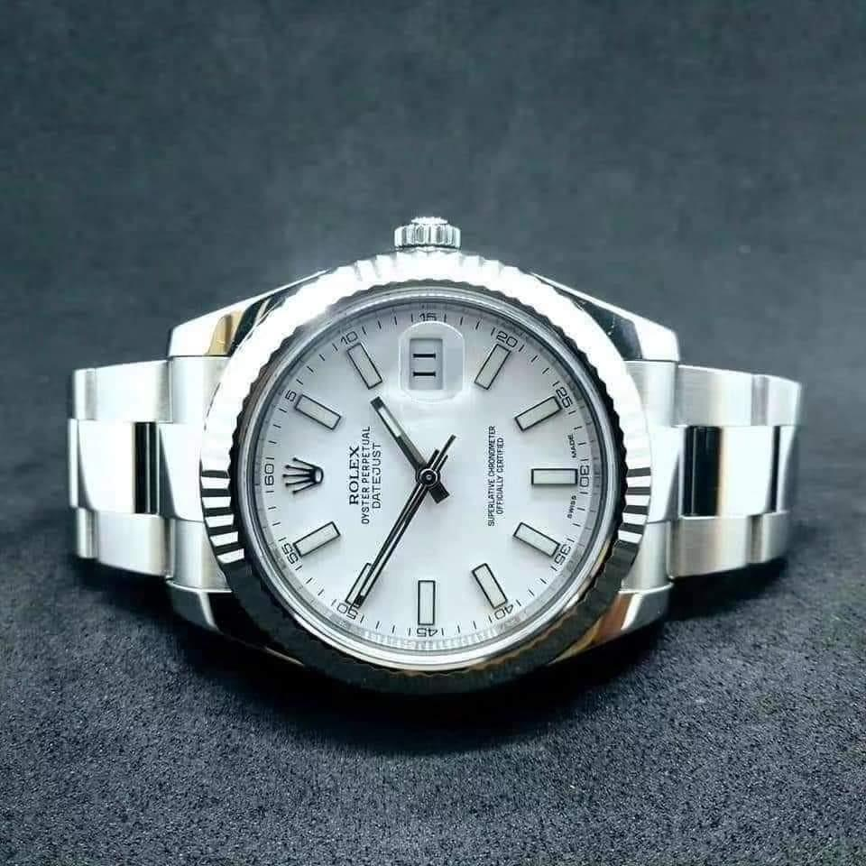 PREOWNED ROLEX Date just FortyOne, 116334 White Rolesor, Oystersteel and White Gold, 41mm, Alphanumeric Series @ Dated Dec 2015 Mens Watch