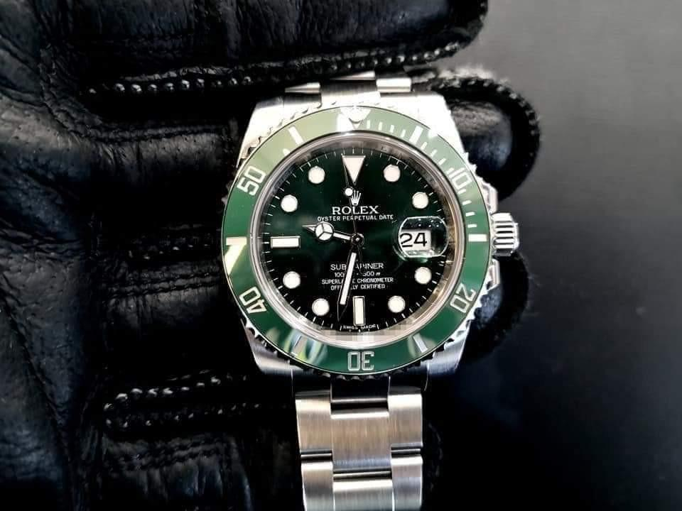 PREOWNED ROLEX SUBMARINER, Green HULK, 116610 LV, Oystersteel, 40mm, Alphanumeric Series, Year 2013 Mens Watch