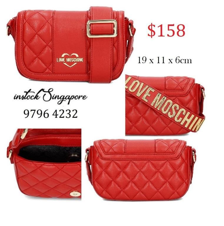 READY STOCK authentic new  Love Moschino Women's Jc4019pp16lc0500 Red Polyurethane Shoulder Bag
