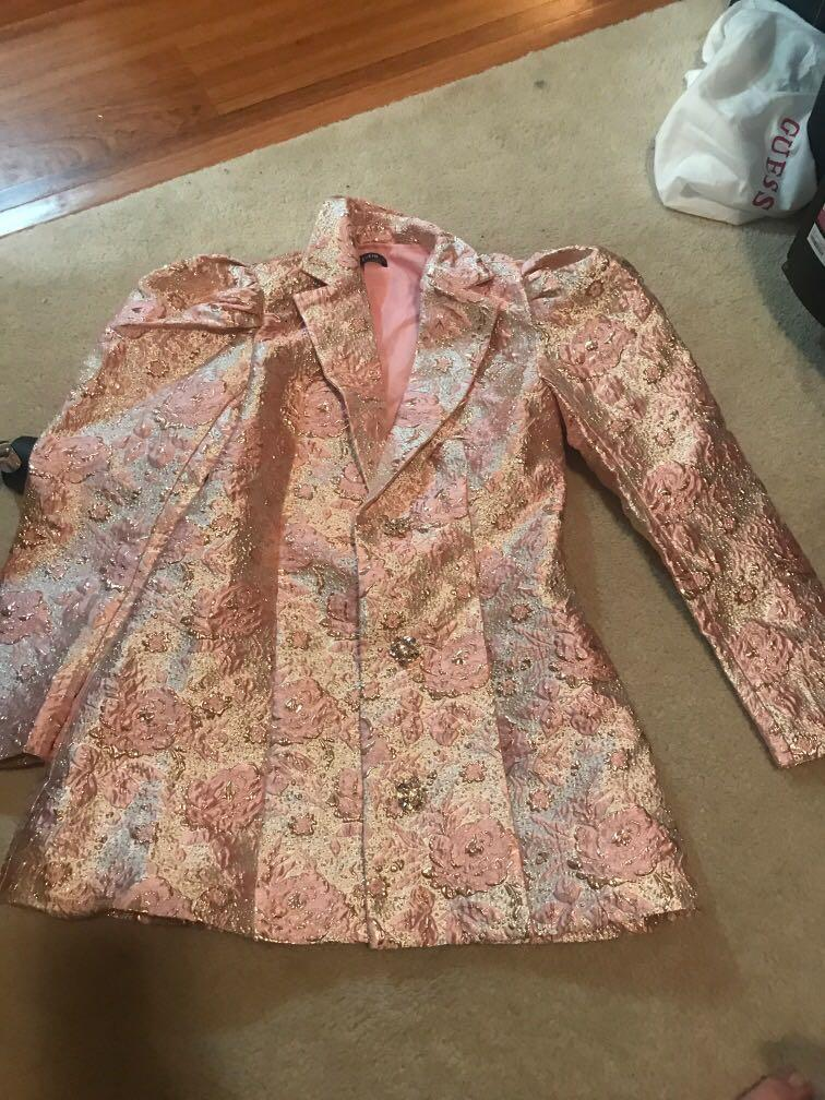 SHEIN pink with gold shimmer puff sleeve blazer dress