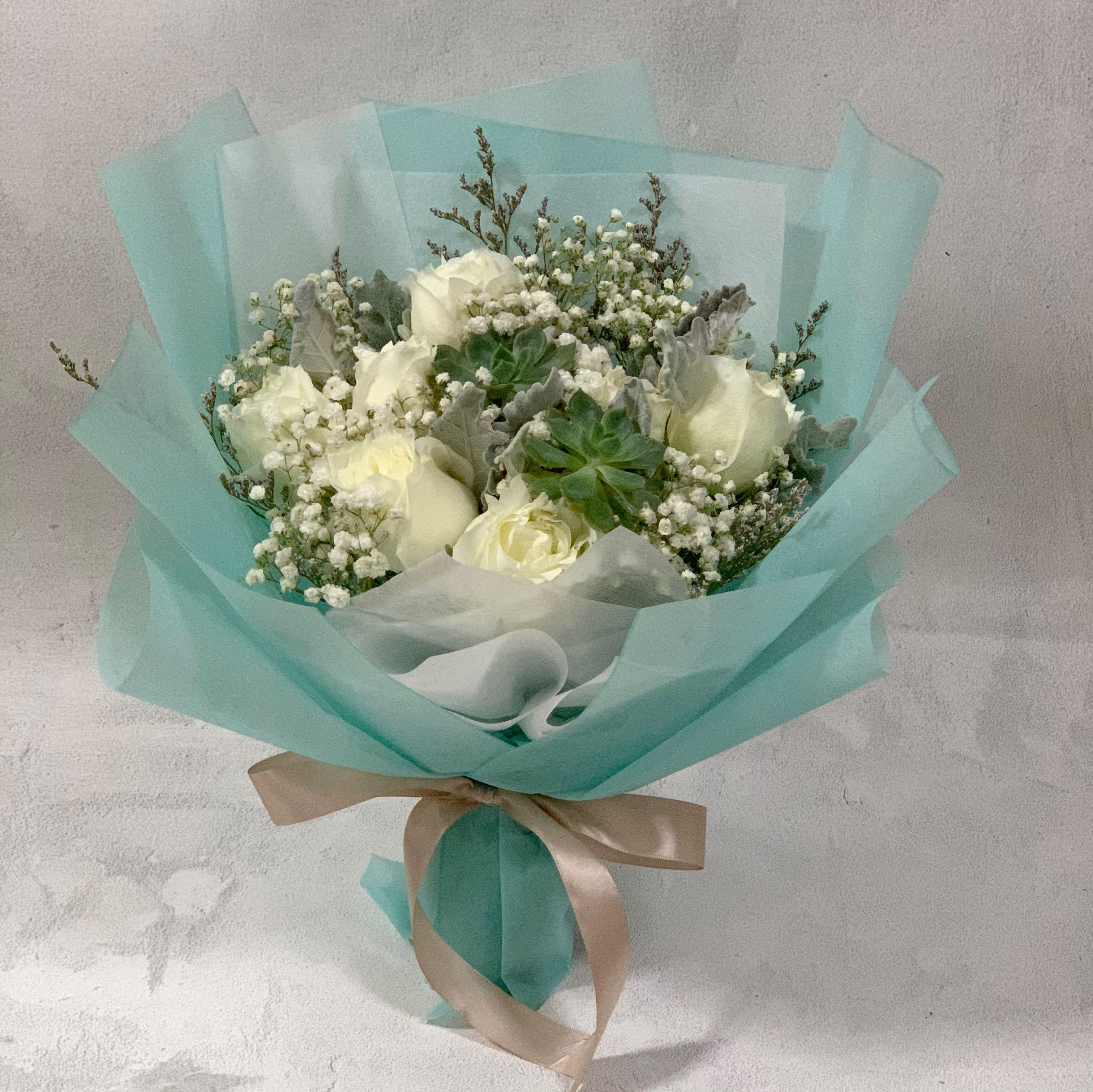 Succulent Bouquet With White Roses And Baby Breath Birthday Bouquet Fresh Flowers Gardening Flowers Bouquets On Carousell