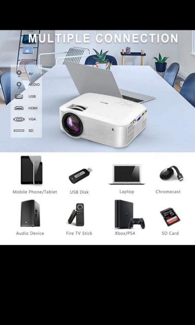 Topvision Portable Led Projector T23 White Home Appliances Tvs Entertainment Systems On Carousell