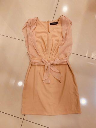 韓版 粉色 無袖洋裝
