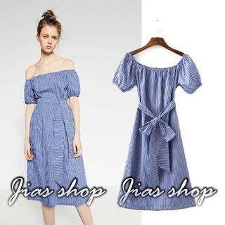 條紋一字領洋裝