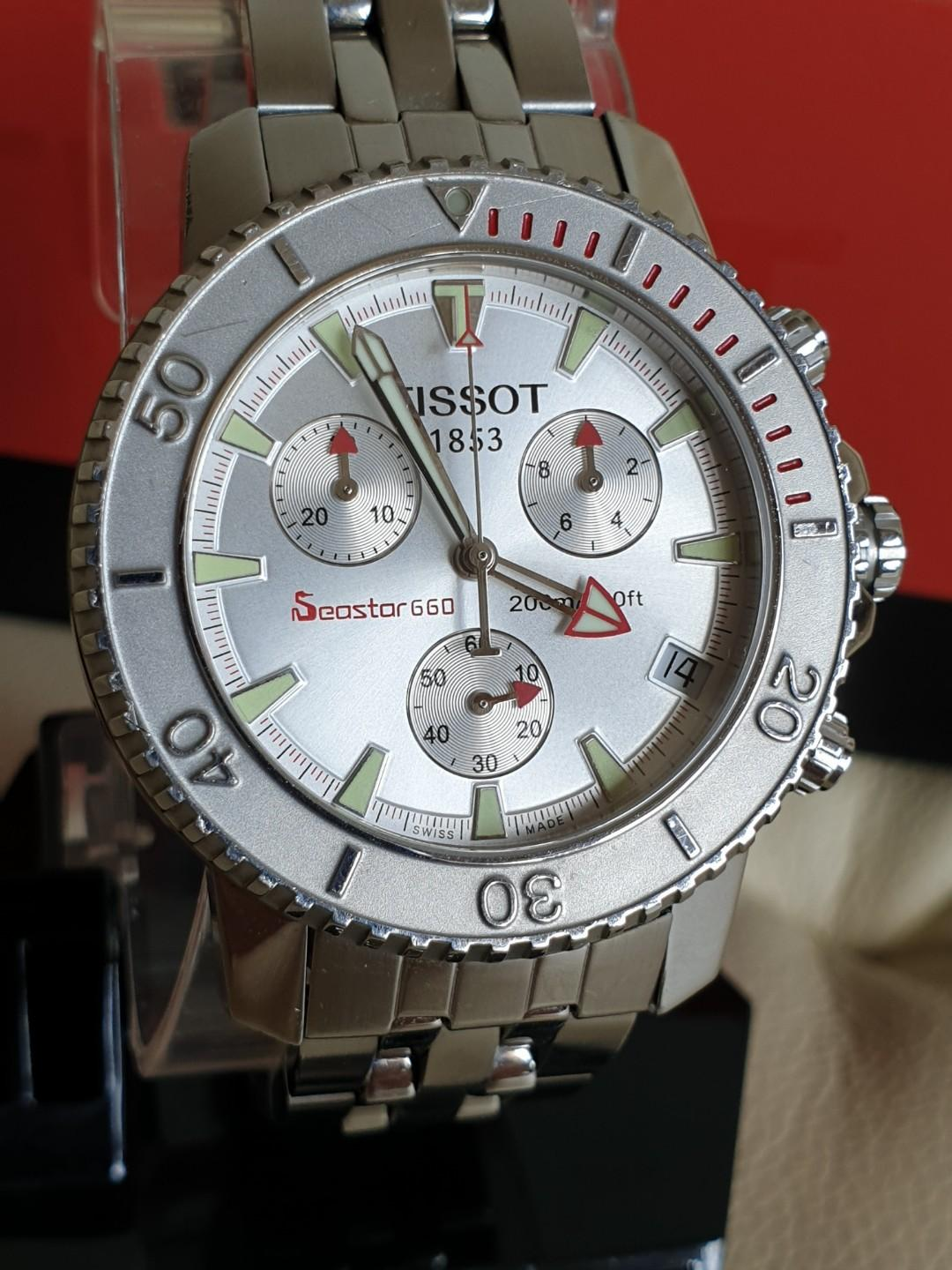 ($499 Cash & Carry) Very Rare and Solid TISSOT Seastar 660 Chronograph All Silver Stainless Steel