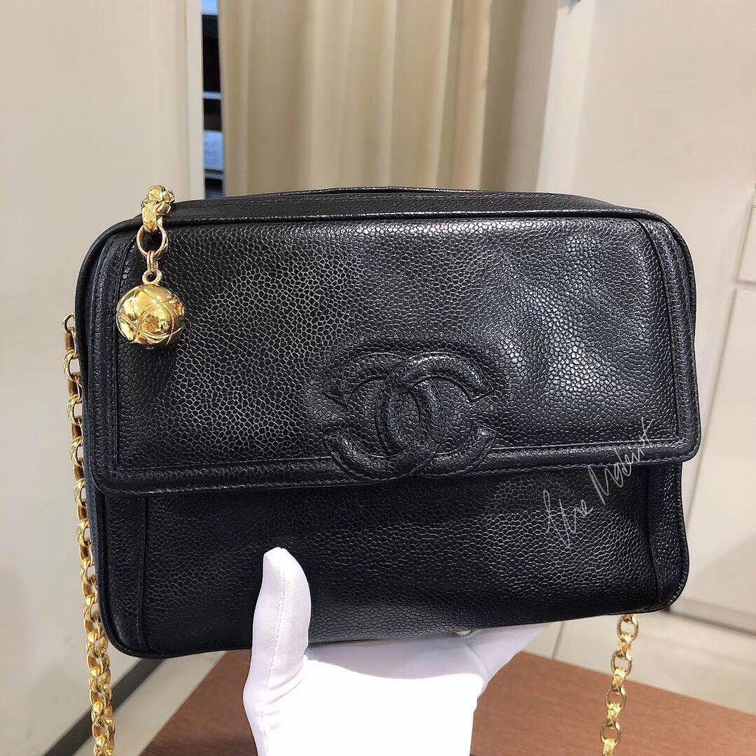 Authentic Chanel Camera Bag CC Logo Black Caviar Leather Gold Hardware