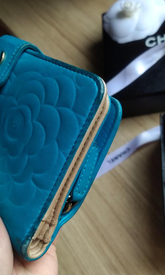 #EarnXtra 💯AUTHENTIC CHANEL Camellia French wallet Camelia Flower Compact Bi Fold Emerald blue Turquoise Lambskin Zip Zipper zipped Around Medium With Matt Gold Hardware camelia pre Loved #EarnXtra