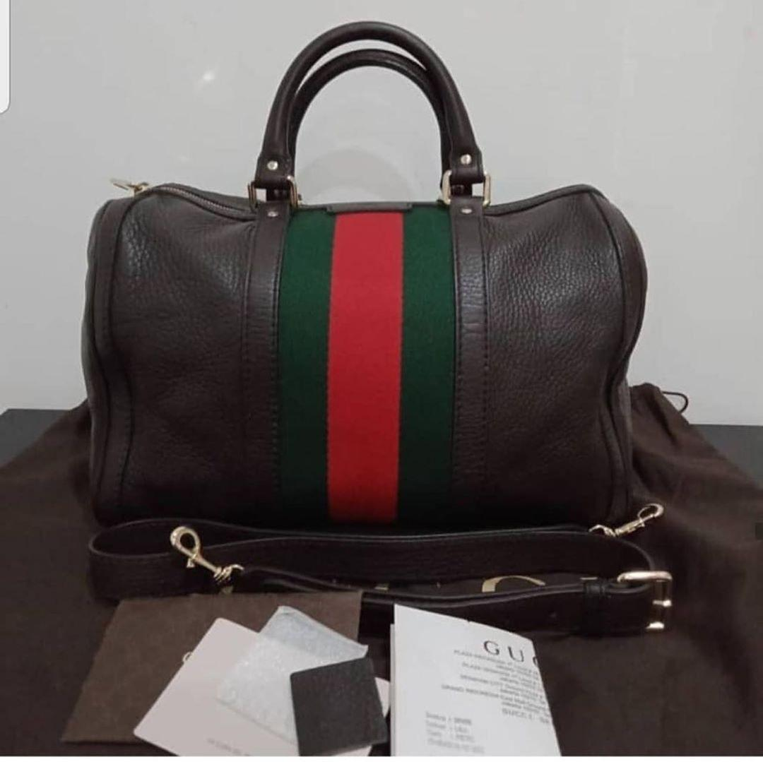 Gucci Boston Bag Authentic bahan full leather ada no seri Like New Size : 31 x 26 cm