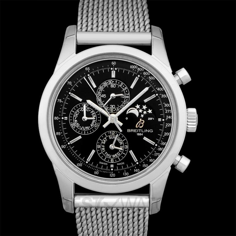 [NEW] Breitling Transocean Chronograph 1461 Stainless Steel / Black / Milanese A1931012/BB68